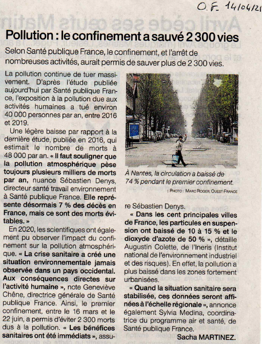 Article of 14 avril 21 morts evitees suite confinement